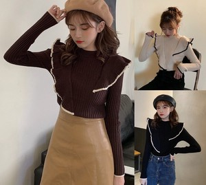 3 Colors Knitted Frill Switch Slim Lean Long Sleeve