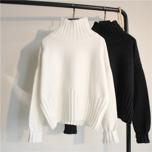 2 Colors Knitted High Neck Long Sleeve Body Type Cover Lean Plain
