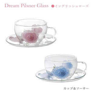 Cups & Saucer Rose Heat-Resistant Glass Pink Blue