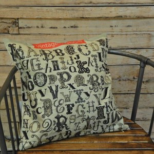 Vintage Style Alphabet Cushion Cover