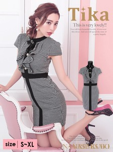 Dress Brooch Attached Houndstooth Pattern Pearl Button Frill Dress