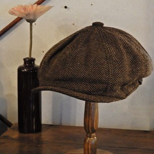 Wool Tweed Casquette Brown Herringbone [ 2020NewItem ]
