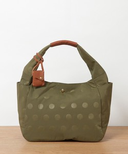 Nylon Dot Leather Handle Tote