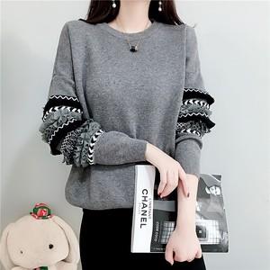ニットセーター ラウンドネック 袖のフリル プルオーバー韓国風