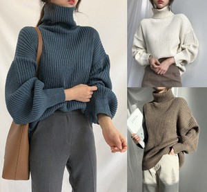 3 Colors Knitted Thick High Neck Body Type Cover Lean Pullover Turtle Cut And Sewn Plain