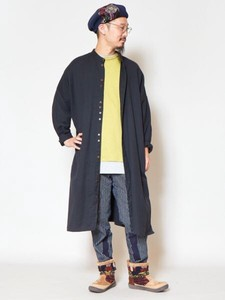 [2019NewItem] Plain Cotton Band Color Long Shirt Unisex
