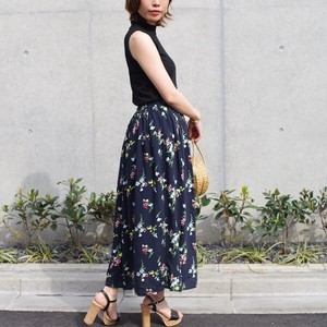Floral Pattern Long Flare Skirt mitis