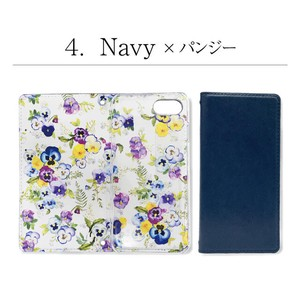 Slim Smartphone Case Notebook Type Floral Pattern Print Pansy