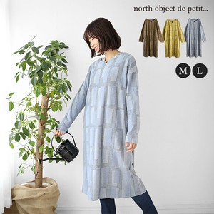 One-piece Dress Tunic Long Sleeve Gigging Geometry Petit Candle One-piece Dress