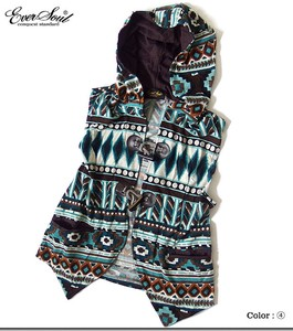Fork Vintage Bohemian Pattern With Hood Toggle Button Vest