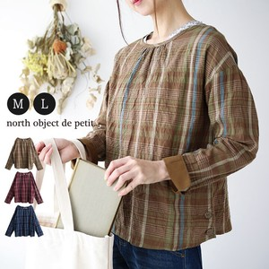 Blouse Ladies Long Sleeve Checkered Shirt Top Petit Checkered