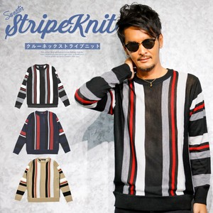 Knitted Men's Long Sleeve Crew Neck Knitted Top Crew Neck Stripe Stripe Thin