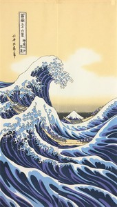 Japanese Noren Curtain Hokusai White-Crested Waves