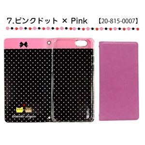 Slim Smartphone Case Notebook Type Pink Dot Pink