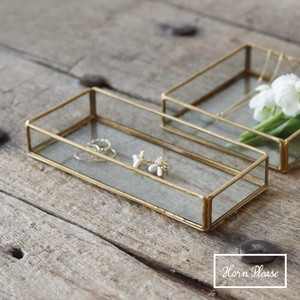 Brass Brass Frame Glass Tray Rectangle