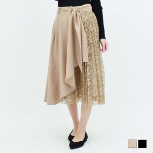 Belt Attached Pleats Switching Raffle Wrap Skirt