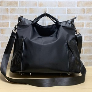 Cow Leather Nylon Tote Bag