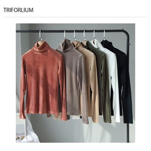 6 Colors Velour Material Turtle Neck T-Shirt