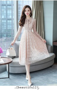 Long One-piece Dress Ladies One-piece Dress Ribbon Lace Dress A line Long Dress