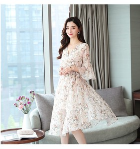 Ladies One-piece Dress Chiffon Long One-piece Dress Floral Pattern Dress