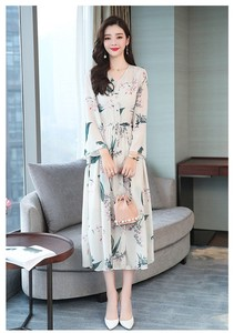 Long One-piece Dress Ladies One-piece Dress Chiffon Floral Pattern Dress