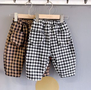 Bottom Pants Children's Clothing Kids A/W Checkered Casual Thick
