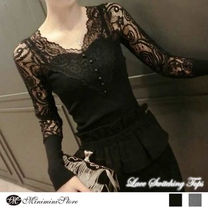 Top Lace Cut And Sewn Long Sleeve Ladies Lace cat