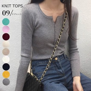 Knitted Top Ladies Long Sleeve Neck Top Plain Button cat
