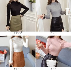Top Ladies Mock Neck Knitted Long Sleeve Knitted Top Thin