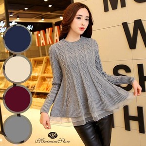 Ladies Knitted Top Long Sleeve Flare Sweater A/W