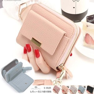 Ladies Wallet Two Round Fastener Compact Leather Wallet