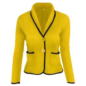 Coat Ladies Short Tailored Jacket Chesterfield Coat Short Yellow