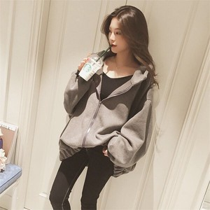 Hoody Ladies Long Sleeve Raised Back Fashion Hoody Warm Gray