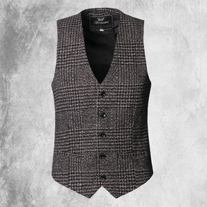 Men's Wool Tweed Vest Vest Business Vest Casual Khaki