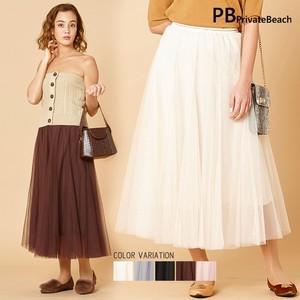 【2019AW】(即納) ウエストゴールドライン ソフトチュールロングスカート