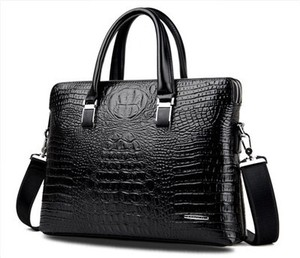 Business Bag Men's Brief Case Crocodile Commuting Men's Handbag Black