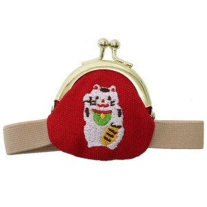 Coin Purse Band Attached Beckoning Cat