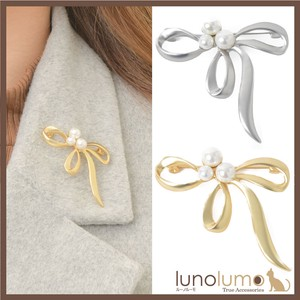 Brooch Ladies Pearl Ribbon Ribbon Metal Gold Silver Elase Elegant