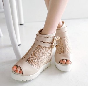 Short Boots Ladies Open Toe Wedge Sole Mesh Lace