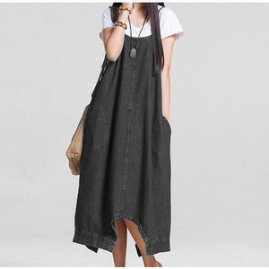 Zip‐up Jacket Skirt Denim One-piece Dress Ladies Long Suspender Pants Leisurely Plain