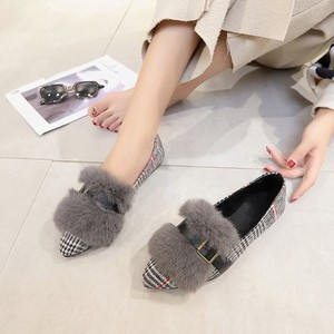 Pumps Heel Fur Pumps Flat Shoes Ladies