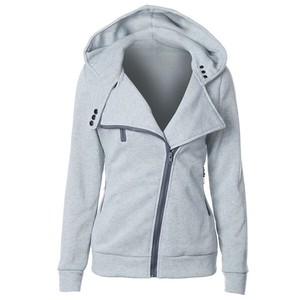 Hoody Ladies Top Unisex Sweat Long Sleeve Outerwear A/W Light Grey