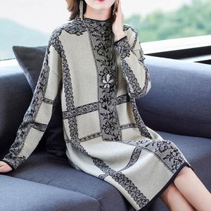 A/W Fine Quality Floral Pattern Event Knitted Sweater Long Sleeve Knitted One-piece Dress