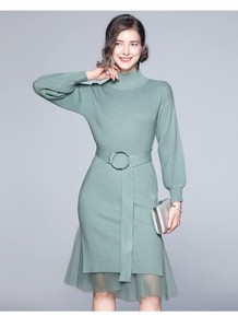 Wedding Knitted Sweater Switch Band Dress