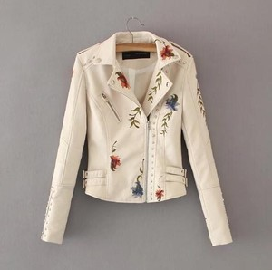 Ladies Leather Jacket Motorcycle Leather Jacket Embroidery Bike Jacket Beautiful Coat