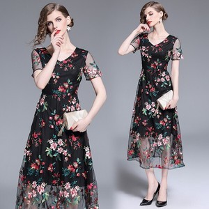 Fine Quality Wedding Event Party Flower Embroidery Lace Long One-piece Dress Dress