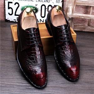 メンズ紳士靴シークレットシューズ ビジネスシューズ ワニ柄  レッド