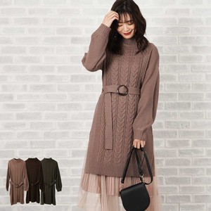 A/W Belt Attached Petit High Neck Knitted One-piece Dress Tunic Sweater