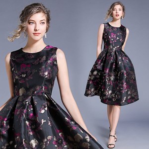 Ladies Floral Pattern Jacquard Wedding Formal Flare Long One-piece Dress Dress
