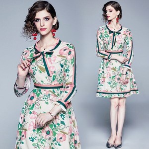 Floral Pattern Ribbon Wedding Party One-piece Dress